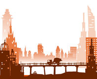 City background with roads, bridges and cars. Illustration Stock Image