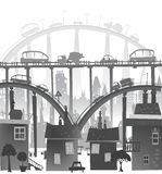 City background with roads, bridges and cars. Illustration Royalty Free Stock Photography