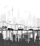 City background with roads, bridges and cars Stock Images