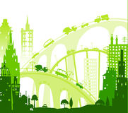 City background with roads, bridges and cars. Illustration Royalty Free Stock Photo