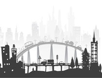 City background with roads, bridges and cars Royalty Free Stock Photography