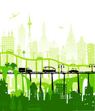 City background with roads, bridges and cars. Illustration Royalty Free Stock Photos
