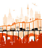 City background with roads, bridges and cars. Illustration vector illustration