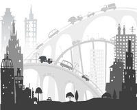 City background with roads, bridges and cars. Illustration Stock Photo