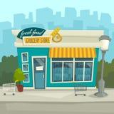 City background with shop building, vector cartoon illustration Stock Photos