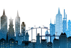 City background with skyscrapers and busy roads, Traffic Royalty Free Stock Image