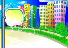 City background with tablet stock illustration