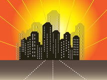 City Background. Vector illustration of a city on a orange color background Royalty Free Stock Photography