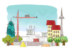City background wuth building site and cranes Royalty Free Stock Photo