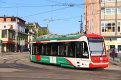 City-Bahn Chemnitz. CHEMNITZ, GERMANY - MAY 8, 2018: City-Bahn Chemnitz (CBC) electric tram in Chemnitz, Germany. Chemnitz is the 3rd-largest city in the Free stock image