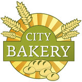 City bakery label. With wheat, bread and buns royalty free illustration