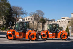 The city of Baku, the Republic of Azerbaijan. 17 April 2017 Close-up view on the road roller working on the new road construction Stock Photos