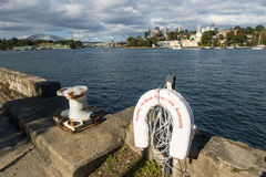 The city from Ballast Point Park. Balmain Sydney with the Sydney harbour foreshore authority life preserver royalty free stock photos