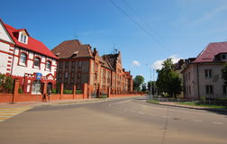 City of Baltiysk of the Kaliningrad region. The street in the city of Baltiysk of the Kaliningrad region. Houses of old architecture of the German construction Royalty Free Stock Image