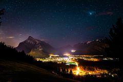 Banff alberta Astrophotography universe stars royalty free stock photos