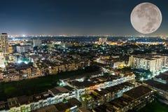 City bangkok and big moon Royalty Free Stock Image