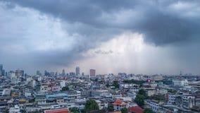City. Bangkok raining cloud Building stock images