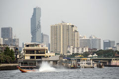 City of Bangkok from the river. View from the river to modern center of Bangkok Royalty Free Stock Image