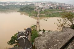 City on the bank of Yangtze river and a bridge Stock Images