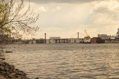 City on the banks of the Dnieper River Ukraine stock image