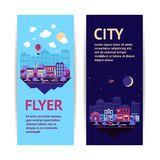 City banner vertical. City night scape night and day town architecture vertical banner set isolated vector illustration Royalty Free Stock Photo