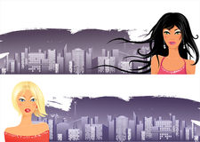 City banners. With beautiful girls royalty free illustration