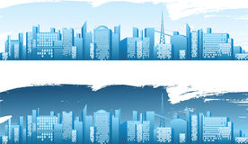 City banners. 2 banners with big city landscape - day and night royalty free illustration