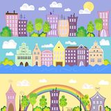 City banners. Design conceptual city banners with houses, river, rainbow, vector illustration, cartoon style Stock Image