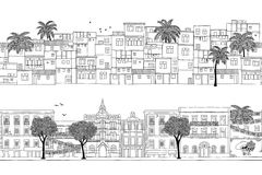 City banners with South American houses. Two seamless banners with South American houses Brazilian, Mexican, poor and wealthy Royalty Free Stock Photography