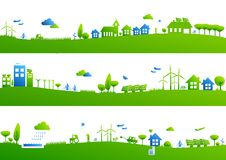 City banners. Three city banners blue and green Stock Image