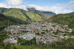 City of Banos, Ecuador. View from the Mirador de la Virgen lookout Royalty Free Stock Images