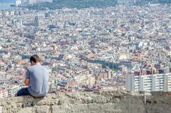 The city of Barcelona from the Carmel stock photography