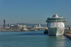 City of Barcelona and cruise ship docking in port of Barcelona i. BARCELONA, SPAIN - OCTOBER 10, 2017: City of Barcelona and cruise ship docking in port of Stock Photography