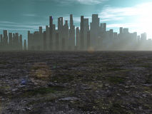 City in barren lands Stock Image