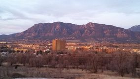 City at the base of the beautiful Colorado mountains Stock Photography