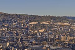 City of Bath from Alexandra Park on top of Beechen Cliff royalty free stock image