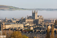 The city of Bath shrouded in morning mist. The historic city of Bath shrouded in mist on an autumn morning Royalty Free Stock Photo