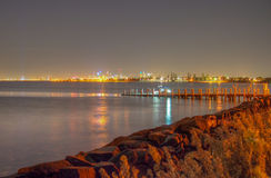 City from the Bay. Melbourne City at night from Port Phillip Bay Royalty Free Stock Images