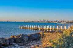 City from the Bay. Melbourne City from Port Phillip Bay Royalty Free Stock Images