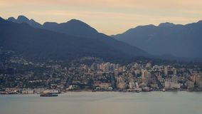 City By Bay And Mountains At Dusk stock footage