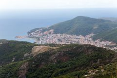 City and Bay view from the mountain. In Montenegro Royalty Free Stock Photo