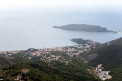 City and Bay view from the mountain. In Montenegro Stock Photos