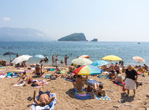 The city beach in Budva, Montenegro Stock Photos