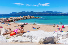 City beach of Cannes, Cote dAzur, France Stock Photo