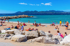 City beach of Cannes, Cotes dAzur, France Stock Photos