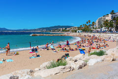 City beach of Cannes, Cotes dAzur, France Stock Photography