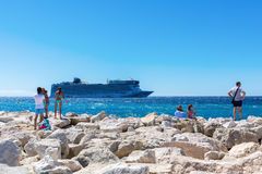 City beach of Cannes, French Riviera, France Royalty Free Stock Photo