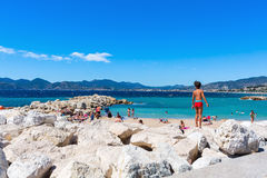 City beach of Cannes, French Riviera, France Stock Photography