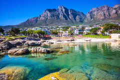 The city beach of Cape Town. Panorama of Cape Town, South Africa. The city beach against magnificent mountains royalty free stock photography