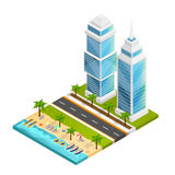 City And Beach Concept. City and beach isometric concept with skyscraper road and sea vector illustration Stock Photo